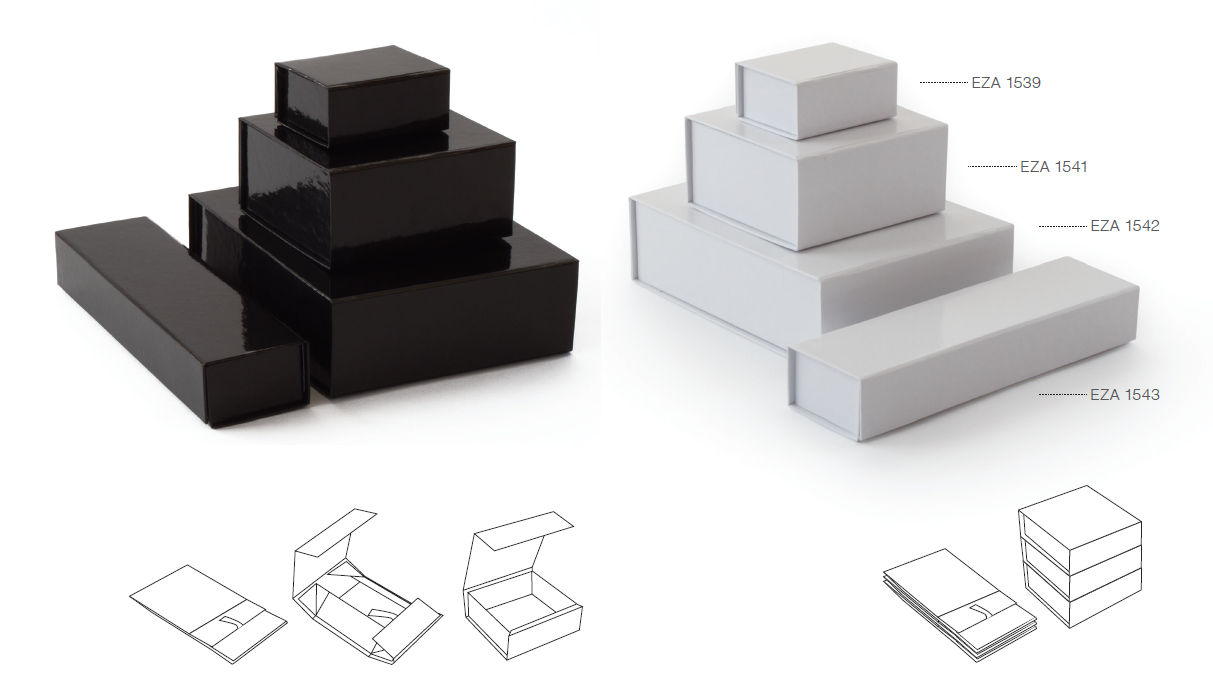white and back folding boxes